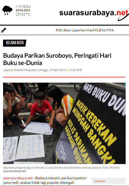 20150419 Suara Surabaya Online Budaya Parikan Suroboyo YPPI World Book Day Hari Buku Dunia