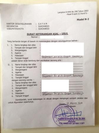 Surat Keterangan Asal-Usul Model N2