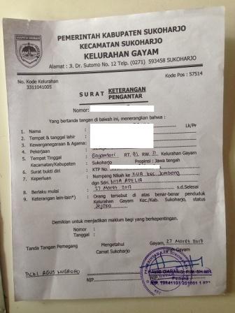 Pengantar Surat Keterangan Numpang Nikah di Kabupaten Mempelai Perempuan